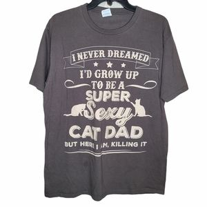 Port & Co Sexy Cat Dad T-shirt Gray Size Large